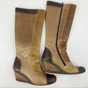 Fly London two toned brown wedge tall boots